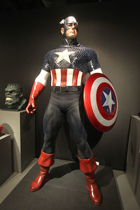 Candace H. Johnson-For Shaw Media A life-size Captain America statue is on display in the Marvelocity:The Art of Alex Ross exhibit at the Bess Bower Dunn Museum in Libertyville. Comic book artist, Alex Ross, sculpted the details in the mask and face. (5/4/19)