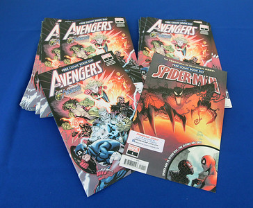 Candace H. Johnson-For Shaw Media Free comic books featuring the Avengers and Spiderman were given out during Free Comic Book Day highlighting the Marvelocity: The Art of Alex Ross exhibit on display at the Bess Bower Dunn Museum in Libertyville. (5/4/19)