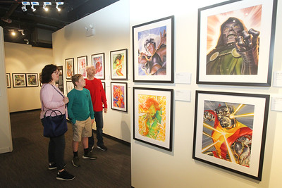 Candace H. Johnson-For Shaw Media Karen and Rich Angelbeck, of Libertyville and their son, Grant, 12, look at the paintings on display made by comic book artist, Alex Ross, in the Marvelocity:The Art of Alex Ross exhibit during Free Comic Book Day at the Bess Bower Dunn Museum in Libertyville. (5/4/19)