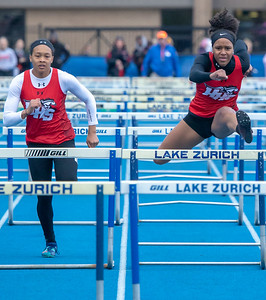 Huntley's Kendal Only (left) finishes third and teammate Taryn Davis finishes second in the 100 meter hurdles at the Class 3A Lake Zurich Girls Track and Field Sectionals Thursday, May 9, 2019 in Lake Zurich. Both Only and Davis qualified for state in the event.  KKoontz – For Shaw Media