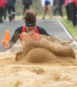 Huntley's Daryn Davis sticks her landing in the long jump at the Class 3A Lake Zurich Girls Track and Field Sectionals Thursday, May 9, 2019 in Lake Zurich. KKoontz – For Shaw Media