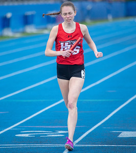 Huntley High School senior Rachel Morrison finishes the 4 x 800m Relay at the Class 3A Lake Zurich Girls Track and Field Sectionals Thursday, May 9, 2019 in Lake Zurich. KKoontz – For Shaw Media