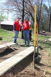 Candace H. Johnson-For Shaw Media Pastor Bill Yaccino, of Volo talks with Dave Snellman, of Antioch about their team of volunteers building an outdoor classroom next to the Hiram Buttrick Sawmill in Gage Brothers Park during the NorthBridge Church's Spring ShareFest in Antioch. (5/4/19)