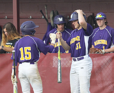 Candace H. Johnson-For Shaw Media Wauconda's Keegan Henley (#15) is greeted by Tyler Heinz (#31) after scoring against Antioch in the fifth inning at Antioch Community High School. Wauconda won 5-3. (5/14/19)