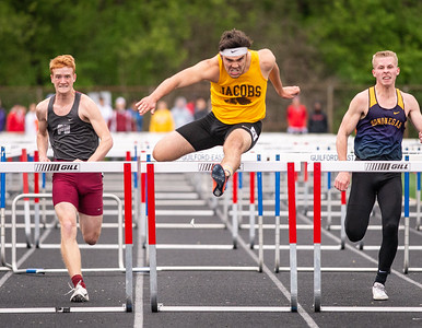 Algonquin Jacob's Tommy Subaric won the 100 Meter Hurdles at the 3A Boys Sectional Championship Meet at Rockford Guilford High School on Friday, May 17, 2019. Photo by Randy Stukenberg for The NorthWest Herald