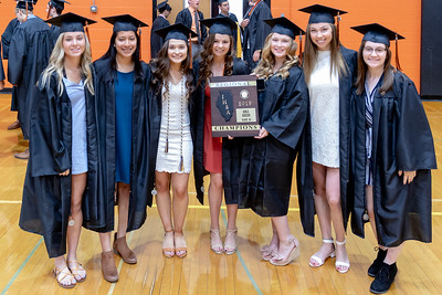 Crystal Lake Central seniors pose for a photo with the Class 2A Regional Soccer trophy prior to the Class of 2019 Crystal Lake Central Commencement Ceremony held Saturday, May 18, 2019 in Crystal Lake.