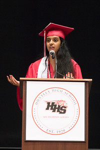 Sam Buckner for Shaw Media. Valedictorian Harini Marchadi gives a speech during the commencement ceramony on Saturday May 18, 2019.