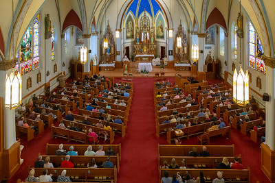 Bishop David Malloy of the Rockford Diocese speaks to the congregation at St. John the Baptist Church Sunday, May 19, 2019 in Johnsburg. Bishop Malloy was on hand to celebrate the St. John the Baptist School's 175th anniversary. KKoontz – For Shaw Media