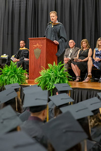 Principle Carl Hobbs addresses the graduates of the Harvard High School class of 2019 during the commencement ceremony held Sunday, May 19, 2019 in Harvard.
