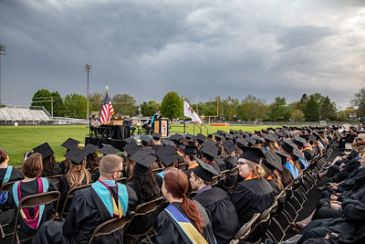 Skies darkened and rain fell at the 2019 McHenry East Commencement Ceremony Wednesday, May 22, 2019 in McHenry. The Ceremony was halted when lightening was spotted in the area and moved to the East Campus gymnasium.