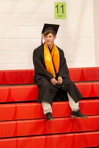 Kyle Dutkiewicz waits in the student assembly area prior to the 2019 McHenry East Commencement Ceremony Wednesday, May 22, 2019 in McHenry.
