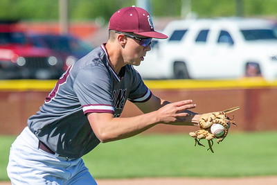 Marengo's Ryan Wilwers keeps his eye on a sharply hit ground ball to third against Richmond-Burton in the first-round sectional game Thursday, May 23, 2019 in Richmond. Richmond went on to win 5-4 and will face Carmel on Saturday. KKoontz – For Shaw Media