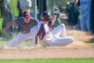 Richmond-Burton's Luke Uhwat is tagged out at third by Marengo's Ryan Wilwers in the first-round sectional game Thursday, May 23, 2019 in Richmond. Richmond went on to win 5-4 and will face Carmel on Saturday. KKoontz – For Shaw Media