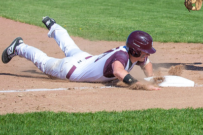 Richmond-Burton's Tyler Anderson dives into third against Marengo in the first-round sectional game Thursday, May 23, 2019 in Richmond. Richmond went on to win 5-4 and will face Carmel on Saturday. KKoontz – For Shaw Media