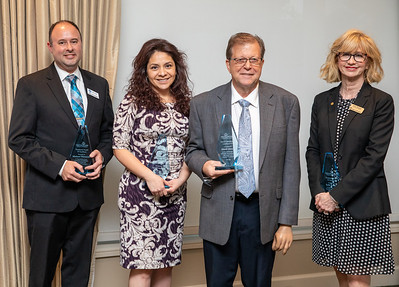 Mike Winnecke (Left to Right), Marlen Glenn, Randy Smith, and Kelly Roewer pose for a photo after each received the Presidential Awards of Excellence at the annual Crystal Lake Chamber of Commerce awards dinner Thursday, May 23, 2019 at the Crystal Lake Country Club in Crystal Lake. KKoontz – For Shaw Media