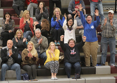 Candace H. Johnson-For Shaw Media Lakes parents cheer on the boys varsity volleyball team after they beat Zion-Benton during the regional semifinal game at Antioch Community High School. Lakes won 23-25, 25-17, 25-14. (5/21/19)