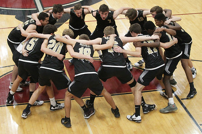 Candace H. Johnson-For Shaw Media The Grayslake North boys volleyball team comes together before their regional semifinal game against Grayslake Central at Antioch Community High School. Grayslake Central won 20-25, 25-22, 25-21. (5/21/19)