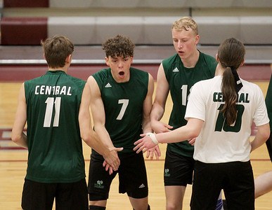 Candace H. Johnson-For Shaw Media Grayslake Central's Ethan Bond, Jacob Spicer, Isaac Dahlstrom and Kaleb Patrick celebrate a point against Grayslake North in the third set during the regional semifinal game at Antioch Community High School. Grayslake Central won 20-25, 25-22, 25-21. (5/21/19)