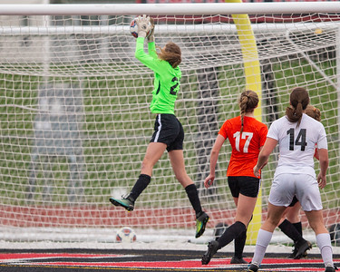 Crystal Lake Central goalkeeper Nora Ryan goes high for a save against Crystal Lake Central in the Class 2A Hampshire Sectional Championship Saturday, May 25, 2019 in Huntley. Central wins 1-0 and will advance to the Super Sectional game.  KKoontz – For Shaw Media