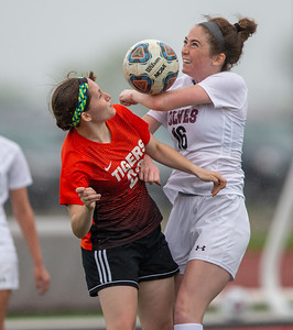 Crystal Lake Central's Mary Potvin (Left) battles for possession with Prairie Ridge's Delaney Todd (right) in the Class 2A Hampshire Sectional Championship Saturday, May 25, 2019 in Huntley. Central wins 1-0 and will advance to the Super Sectional game. KKoontz – For Shaw Media