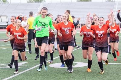 Crystal Lake Central soccer teammates celebrate the win over Prairie Ridge in the Class 2A Hampshire Sectional Championship Saturday, May 25, 2019 in Huntley. Central wins 1-0 and will advance to the Super Sectional game.  KKoontz – For Shaw Media