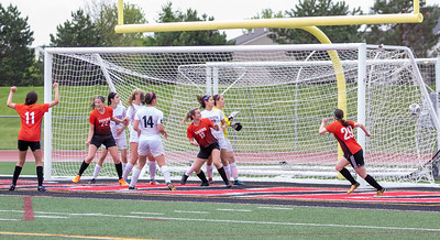 Crystal Lake Central's Megan Wozniak kick finds the back of the net with 20 seconds left in the game and puts the Tigers up 1-0 over Prairie Ridge in the Class 2A Hampshire Sectional Championship Saturday, May 25, 2019 in Huntley. Central gets by Prairie ridge 1-0 and will advance to the Super Sectional game. KKoontz – For Shaw Media