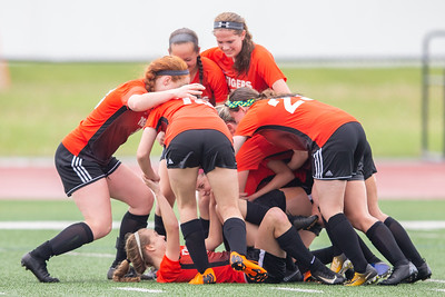 Crystal Lake Central girls soccer teammates celebrates a goal by Megan Wozniak with 20 seconds left in the game to give the Tigers the victory over Prairie Ridge in the Class 2A Hampshire Sectional Championship Saturday, May 25, 2019 in Huntley. Central wins 1-0 and will advance to the Super Sectional game.  KKoontz – For Shaw Media