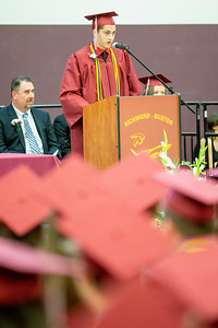 Class salutatorian Devon Tyler Bailey address his classmates at the 2019 Richmond-Burton Commencement ceremony Sunday, May 26, 2019 in Richmond.   KKoontz – For Shaw Media