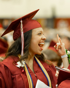 Sofia Larsen celebrates after receiving her diploma at the 2019 Richmond-Burton Commencement Ceremony Sunday, May 26, 2019 in Richmond.   KKoontz – For Shaw Media