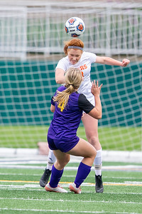 Crystal Lake Central junior Ellie Montford heads the ball over Wauconda's Megan Sinnott in the IHSA Class 2A Supersectional game Tuesday, May 28, 2019 in Grayslake. Wauconda gets the 2-1 win to advance to the State Semifinals. KKoontz – For Shaw Media