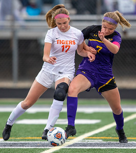 Crystal Lake Central senior Megan Wozniak and Wauconda's Savannah Johnson battle for possession of the ball in the IHSA Class 2A Supersectional game Tuesday, May 28, 2019 in Grayslake. Wauconda gets the 2-1 win to advance to the State Semifinals. KKoontz – For Shaw Media
