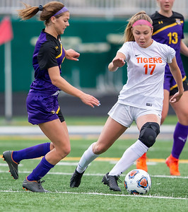 Crystal Lake Central senior Megan Wozniak moves the ball through the Wauconda defense in the IHSA Class 2A Supersectional game Tuesday, May 28, 2019 in Grayslake. Wauconda gets the 2-1 win to advance to the State Semifinals. KKoontz – For Shaw Media