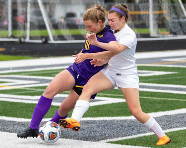 Crystal Lake Central's Grace Rokos (right) battles for possession of the ball against Wauconda's Kayla Llewellyn in the IHSA Class 2A Supersectional game Tuesday, May 28, 2019 in Grayslake. Wauconda gets the 2-1 win to advance to the State Semifinals. KKoontz – For Shaw Media