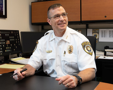 Woodstock Chief of Police John Lieb discusses the issues of legalizing Marijuana in Illinois with Northwest Herald reporter Drew Zimmerman at his office Tuesday, May 28, 2019 in Woodstock.  KKoontz – For Shaw Media