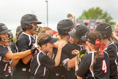 Huntley celebrates a grand-slam homerun by Teagan O'Rilley in the top over the seventh against Barrington in the Class 4A Hampshire Softball Sectional semifinal Wednesday, May 29, 2019 in Hampshire. Huntley gets the victory 6-1 and will face McHenry in an all Fox Valley Conference Sectional final on Saturday, June 1, 2019. KKoontz – For Shaw Media