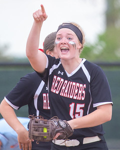 Huntley's Grace Kutz celebrates an out in the fifth inning against Barrington in the Class 4A Hampshire Softball Sectional semifinal Wednesday, May 29, 2019 in Hampshire. Huntley gets the victory 6-1 and will face McHenry in an all Fox Valley Conference Sectional final on Saturday, June 1, 2019. KKoontz – For Shaw Media