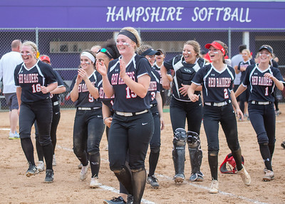 Huntley celebrates a 6-1 victory over Barrington in the Class 4A Hampshire Softball Sectional semifinal Wednesday, May 29, 2019 in Hampshire. Huntley will face McHenry in an all Fox Valley Conference Sectional final on Saturday, June 1, 2019. KKoontz – For Shaw Media