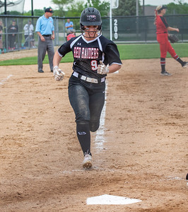 Huntley's Abigail Simandl crosses the plate in to give the Red Raiders a 2-1 lead in the top of the seventh inning over Barrington in the Class 4A Hampshire Softball Sectional semifinal Wednesday, May 29, 2019 in Hampshire. Huntley gets the victory 6-1 and will face McHenry in an all Fox Valley Conference Sectional final on Saturday, June 1, 2019. KKoontz – For Shaw Media