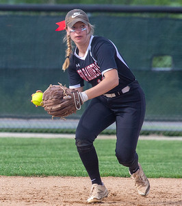 Huntley shortstop Victoria Schulte fields a ground ball and gets the out at first against Barrington Wednesday, May 29, 2019 in Hampshire during the Class 4A Hampshire Softball Sectional semifinal.  Huntley gets the victory 6-1 and will face McHenry in an all Fox Valley Conference Sectional final on Saturday, June 1, 2019. KKoontz – For Shaw Media