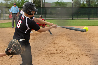 Huntley's Sofia Tenuta picks up a two out, RBI single in the Top of the third against Barrington Wednesday, May 29, 2019 during the Class 4A Hampshire Softball Sectional semifinal in Hampshire.  Huntley gets the victory 6-1 and will face McHenry in an all Fox Valley Conference Sectional final on Saturday, June 1, 2019. KKoontz – For Shaw Media
