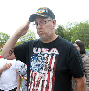 """Candace H. Johnson-For Shaw Media Veteran Steve Joseph, of Grayslake salutes as the """"National Anthem"""" is played during the Annual Memorial Day Ceremony at the Gurnee Memorial on O'Plaine Road in Gurnee. The American Legion Post 771 and the Village of Gurnee hosted the ceremony. (5/27/19)"""