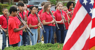 """Candace H. Johnson-For Shaw Media The Viking Middle School's 6th grade band plays, """"America The Beautiful,"""" during the Annual Memorial Day Ceremony at the Gurnee Memorial on O'Plaine Road in Gurnee. The ceremony was presented by the American Legion Post 771 and the Village of Gurnee. (5/27/19)"""