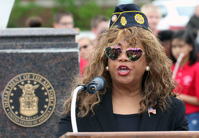 Candace H. Johnson-For Shaw Media Terry Waddell-Moenter, of Gurnee, Post Commander with American Legion Post 771, addresses the crowd during the Annual Memorial Day Ceremony at the Gurnee Memorial on O'Plaine Road in Gurnee. The ceremony was presented by the American Legion Post 771 and the Village of Gurnee. (5/27/19)