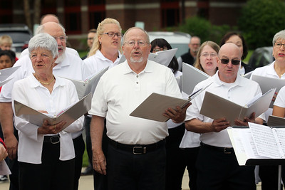 "Candace H. Johnson-For Shaw Media The Lakeshore Singers sing, ""A Tribute to the Armed Services,"" during the Annual Memorial Day Ceremony at the Gurnee Memorial on O'Plaine Road in Gurnee. The American Legion Post 771 and the Village of Gurnee hosted the ceremony. (5/27/19)"