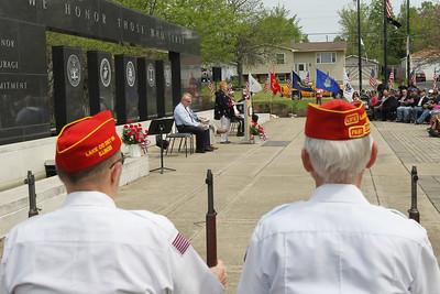 Candace H. Johnson-For Shaw Media Veterans from the Lake County Marine Corps League Detachment 801 listen to the Memorial Day Ceremony at the Lindenhurst Veterans Memorial.  (5/27/19)