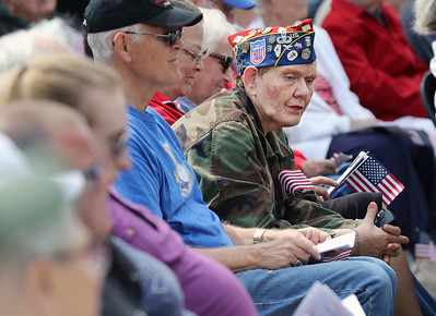 Candace H. Johnson-For Shaw Media Colonel D.K. Deligiannis, of Gurnee, an Air Force veteran, listens to the Memorial Day Ceremony at the Lindenhurst Veterans Memorial.  (5/27/19)