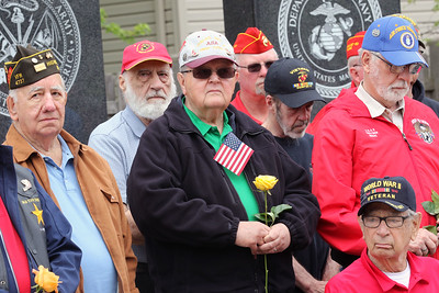 "Candace H. Johnson-For Shaw Media Veterans came together to hear Rebecca Rivera sing, ""Amazing Grace,"" during the Memorial Day Ceremony at the Lindenhurst Veterans Memorial.  (5/27/19)"