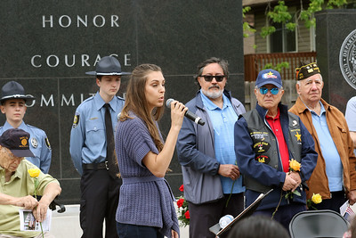 "Candace H. Johnson-For Shaw Media Rebecca Rivera, of Kenosha, Wis. sings, ""Amazing Grace,"" during the Memorial Day Ceremony at the Lindenhurst Veterans Memorial.  (5/27/19)"