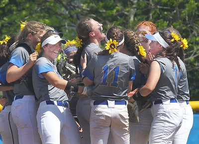 Candace H. Johnson-For Shaw Media Warren's Caitlyn Britton (center) and her team celebrate their win against Grayslake North during the Class 4A regional final at Warren Township  High School. Britton was Warren's pitcher and her grand slam won the game for her team. Warren won 4-1. (5/25/19)