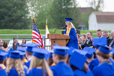 Class Valedictorian Carson Nuzzo gives her speech at the 2019 Johnsburg High School Commencement ceremony Friday, May 31, 2019 in Johnsburg. KKoontz – For Shaw Media